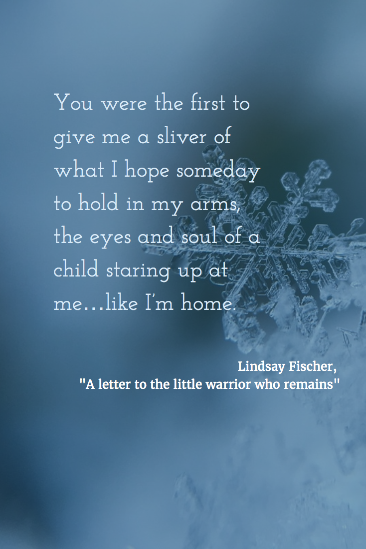 Lindsay Fischer's letter to last warrior baby that survived egg retrieval.